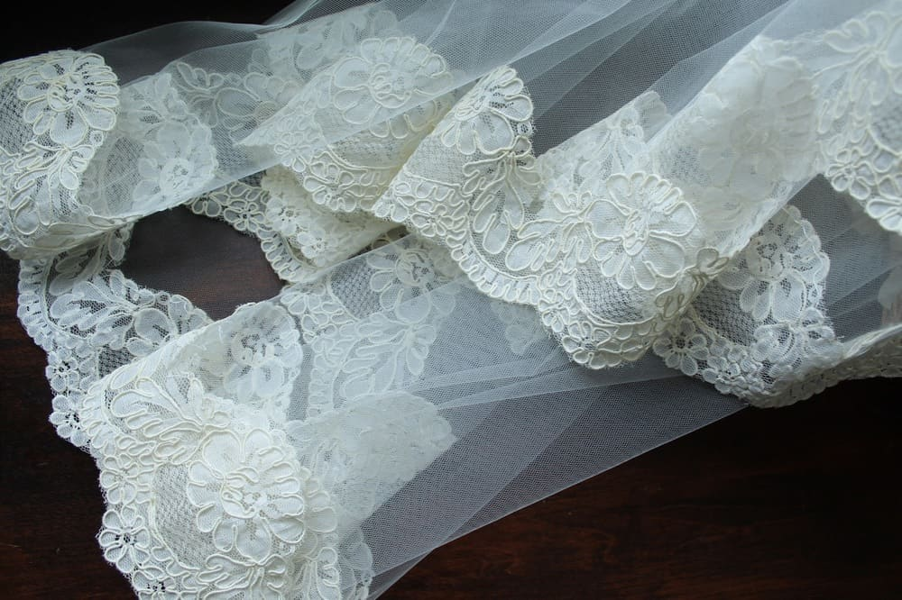 Thick lace trim wedding veil