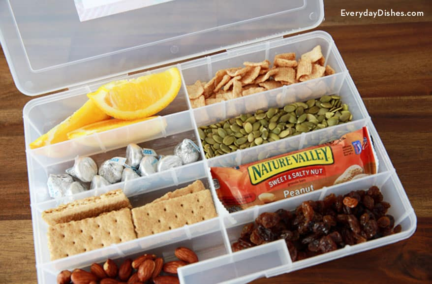 Travel snack pack in a craft organizer