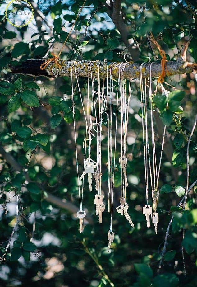 Tree hanging key wind chimes