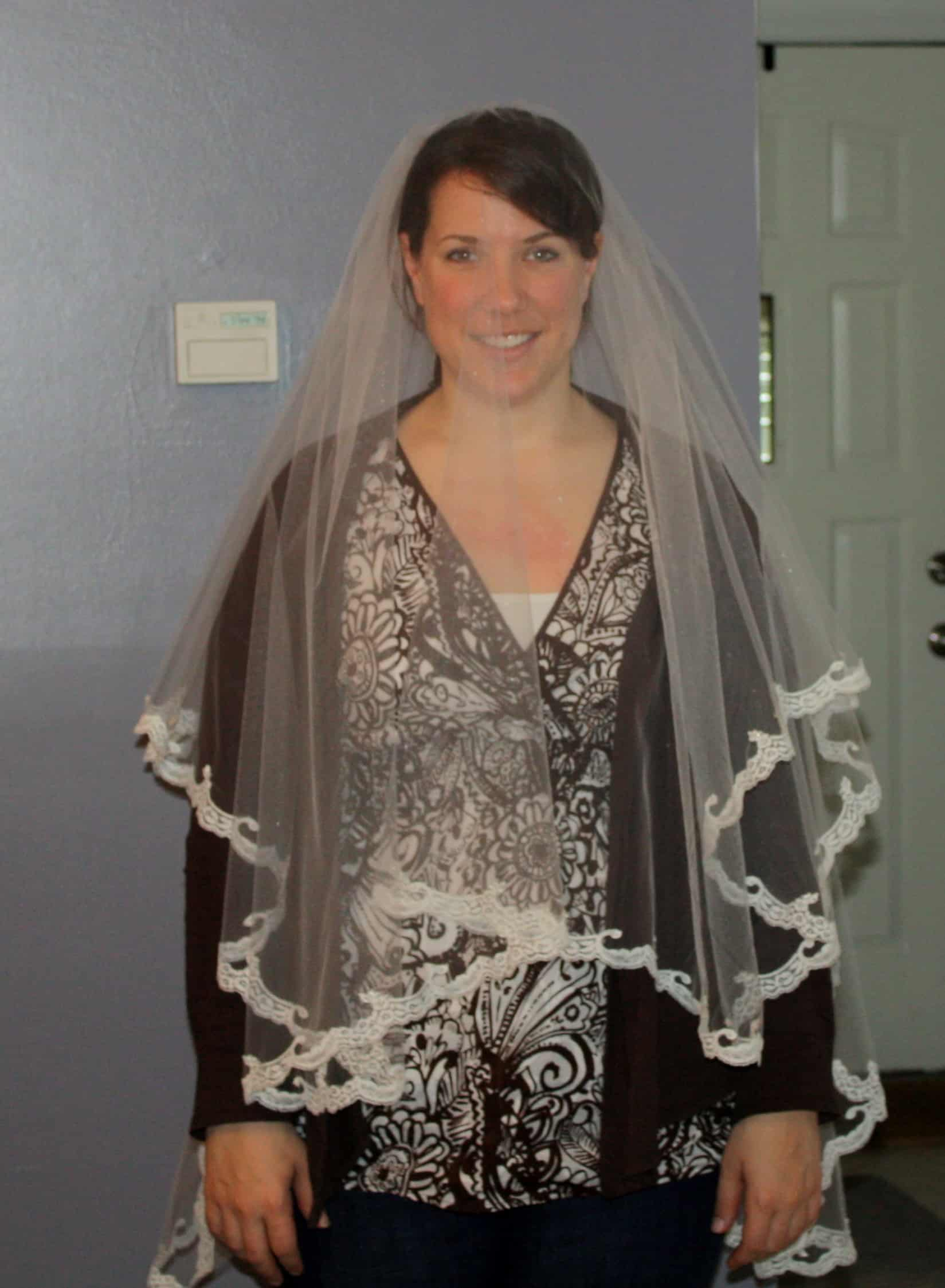 Wedding veil with a blusher