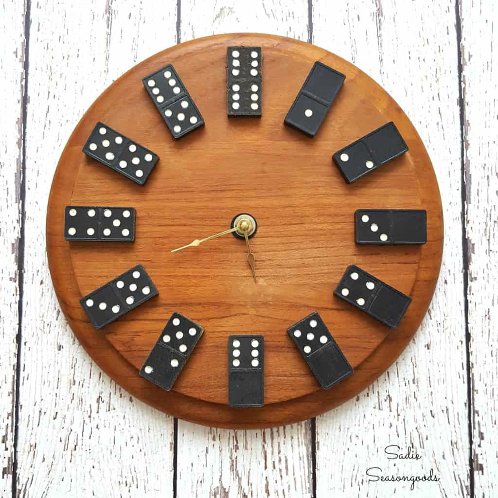 Wood and domino clock