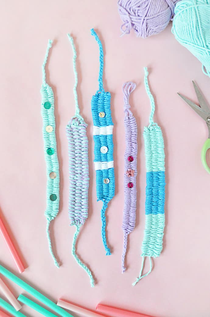 Woven yarn and sequin friendship bracelets