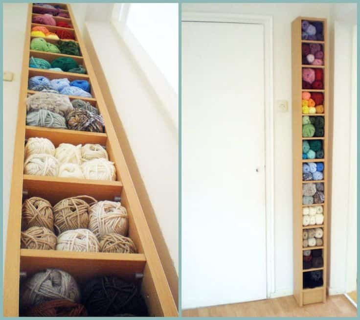 Yarn stored in CD and DVD shelves