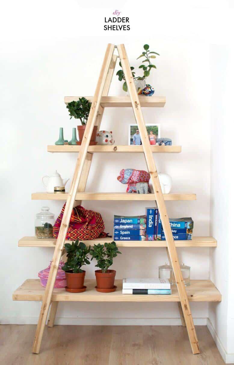 A-frame ladder shelf