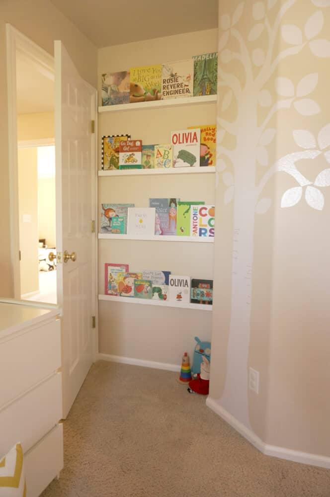 Behind-the-door book balancing shelf