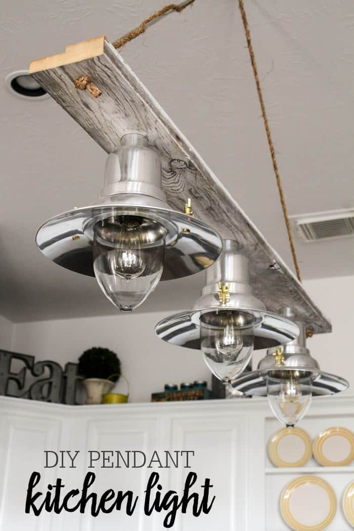 Board and rope triple kitchen pendant light