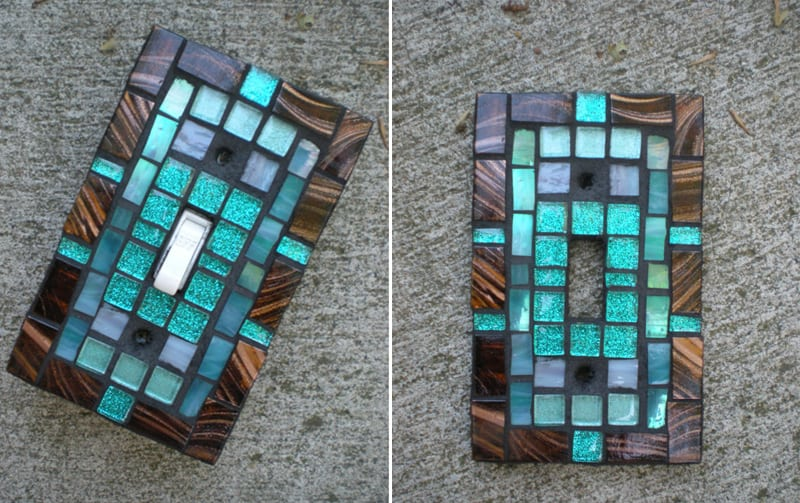 Bronse and teal stained glass mosaic cover