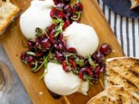Burrata with balsamic cherries and basil 200x150 15 Delicious Summer Recipes Made With Cherries