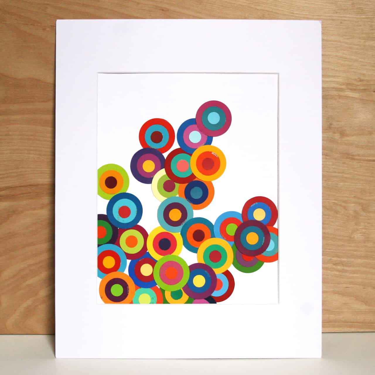 Circular layered paint chip art