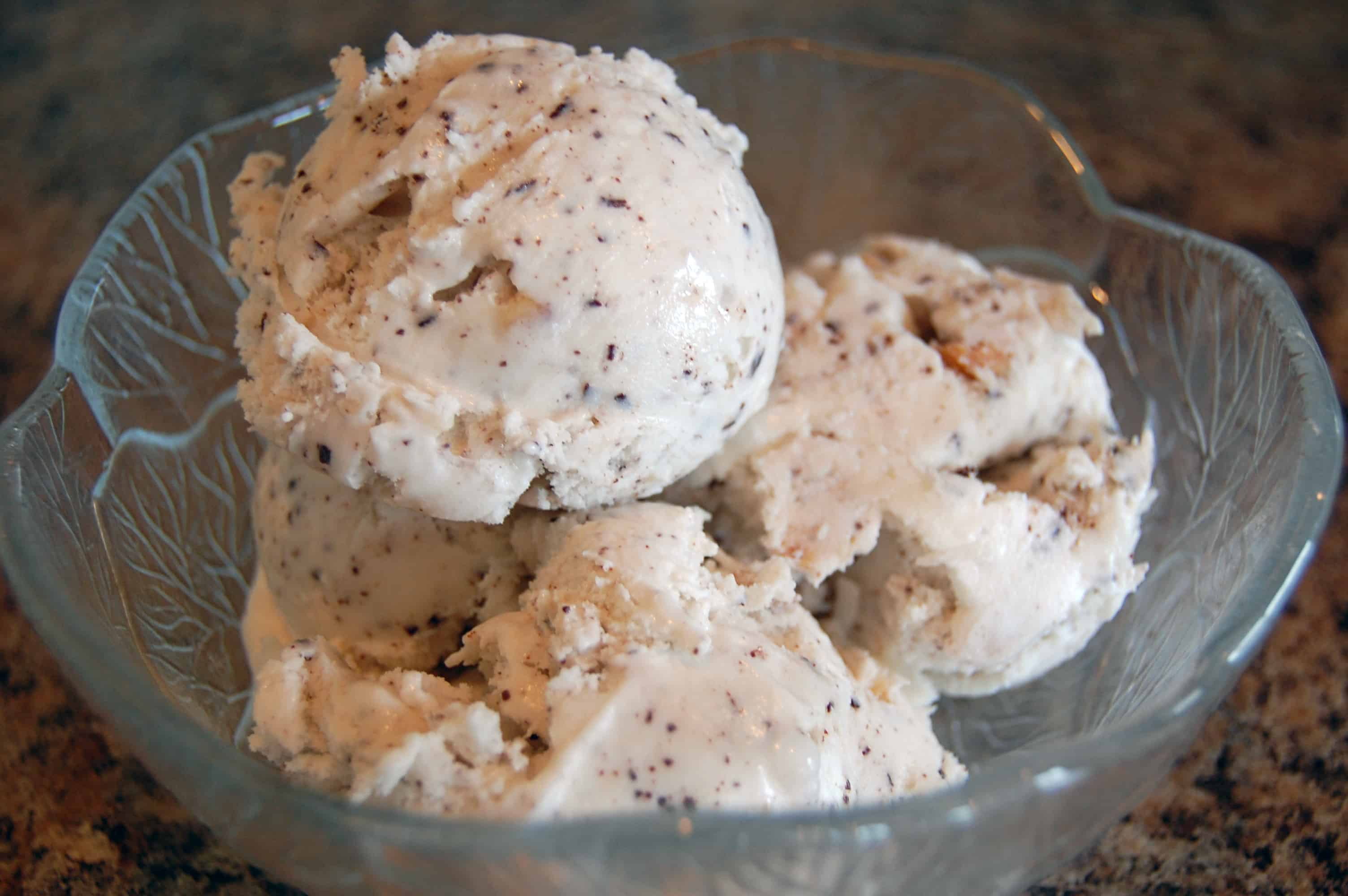 Coconut macadamia homemade ice cream