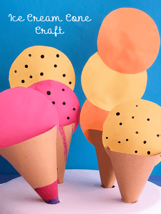 Coloured paper ice cream cone craft