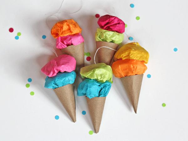 Colourful tissue paper ornaments