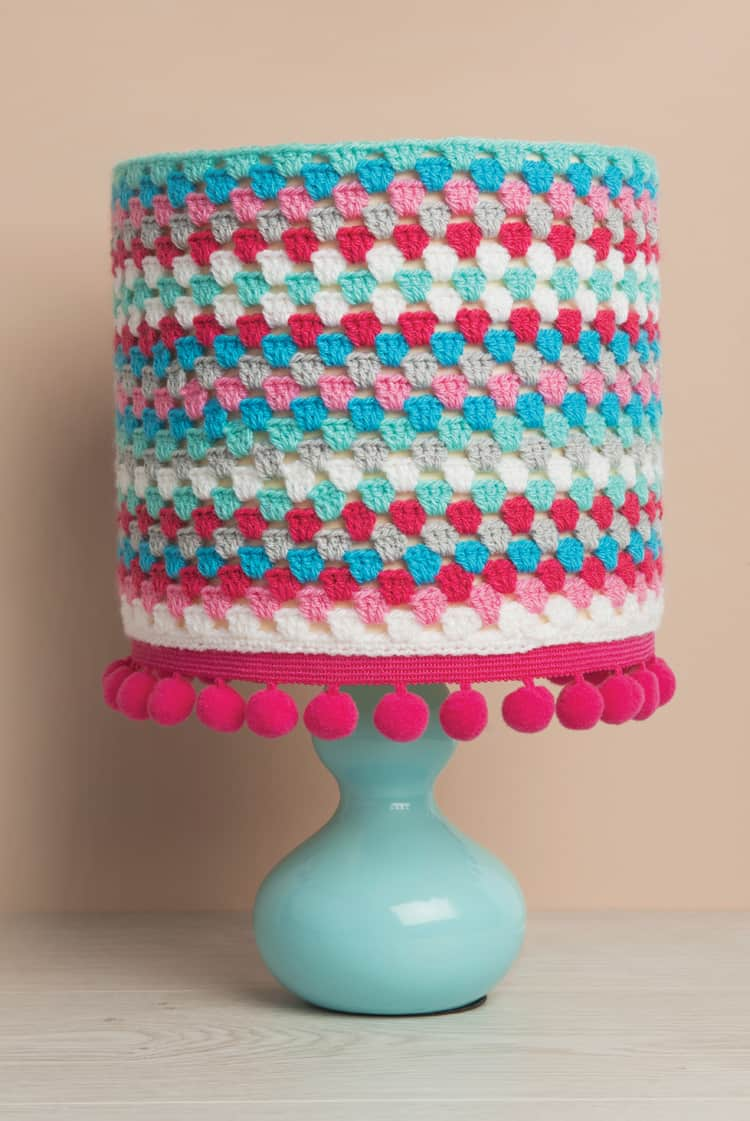 Crocheted and pom pom lamp shade