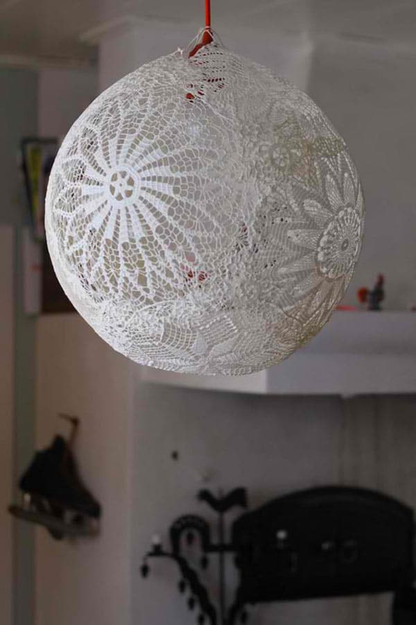 DIY lace orb pendant lamp