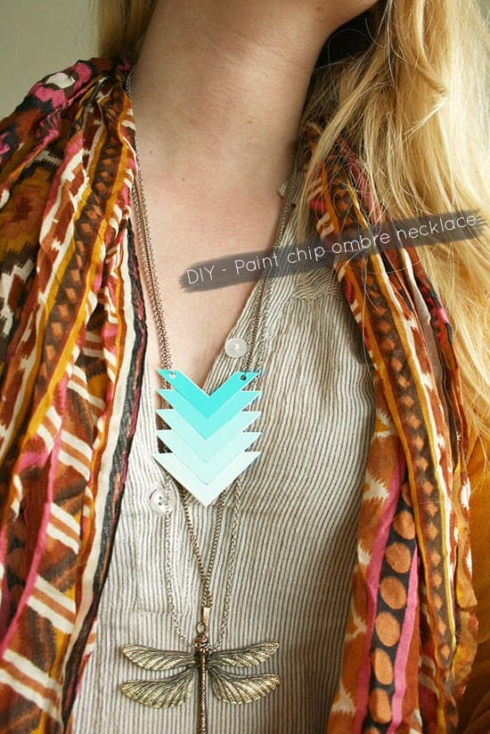 DIY paint chip ombra necklace