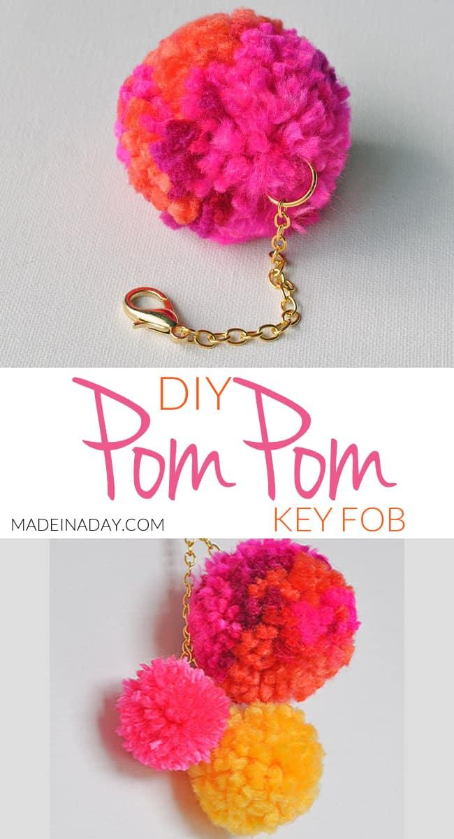 DIY pom pom key fob