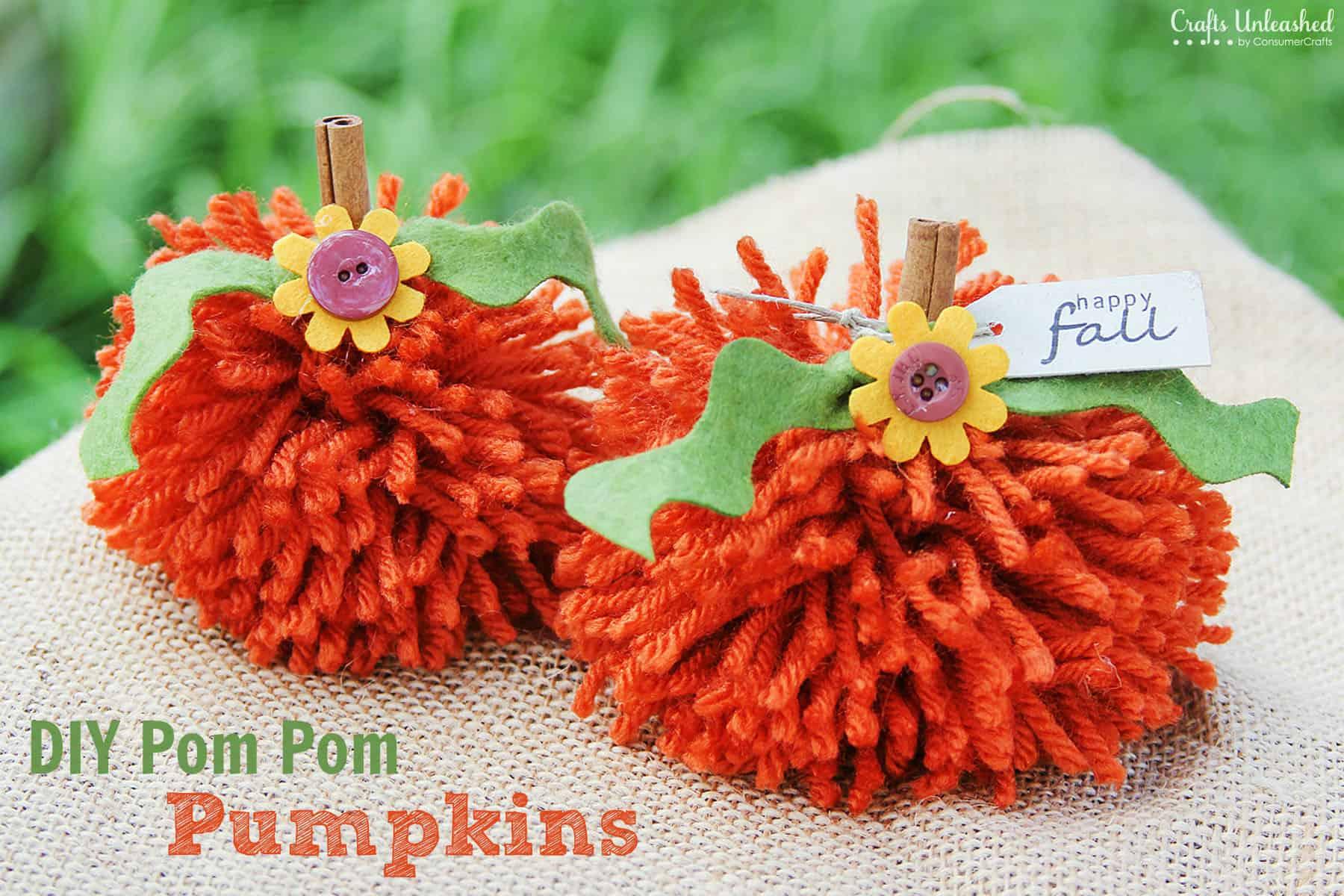 DIY pom pom pumpkins