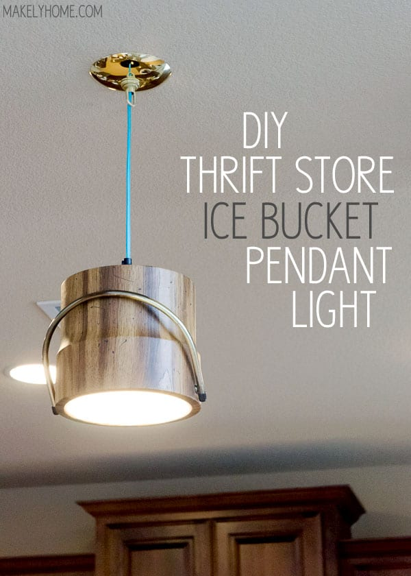 DIY thrift store ice bucket pendant light