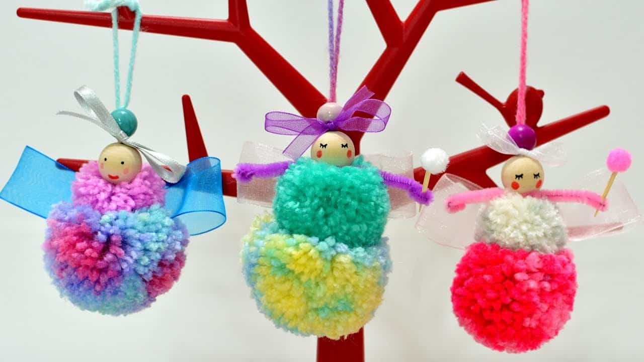 DIY yarn pom pom fairies