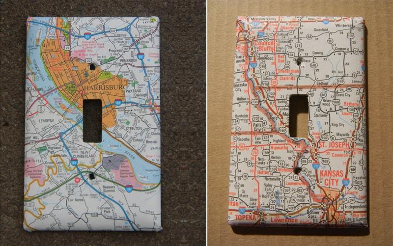 Decoupage map plates