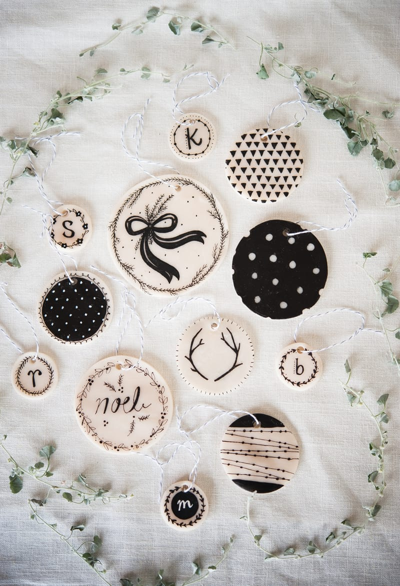 Detailed clay and paint pen ornaments