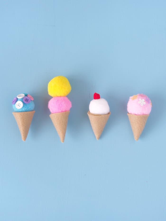 Easy felt ice cream cones