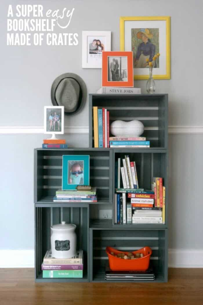Easy stacked crate bookshelf