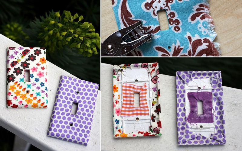Fabric covered switch and outlet plates