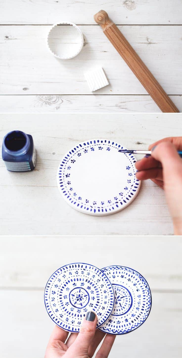 Faux china painted clay coasters