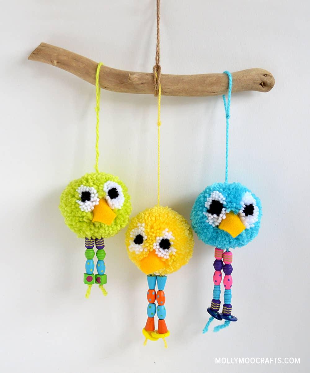 Funny pom pom birds