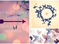 Gossip Girl inspired DIY butterfly clock 200x150 Colorfully Charming: Lovely DIY Butterfly Decor Projects