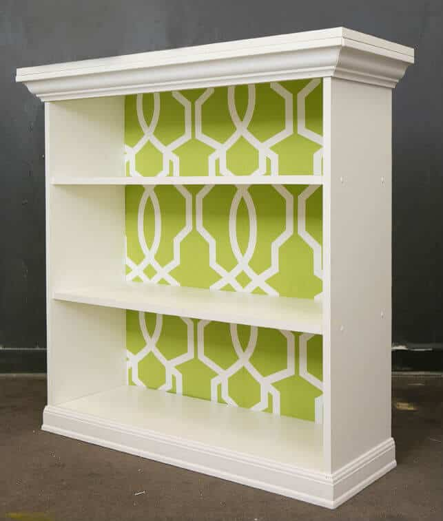 Graphic wall papered back panel shelf