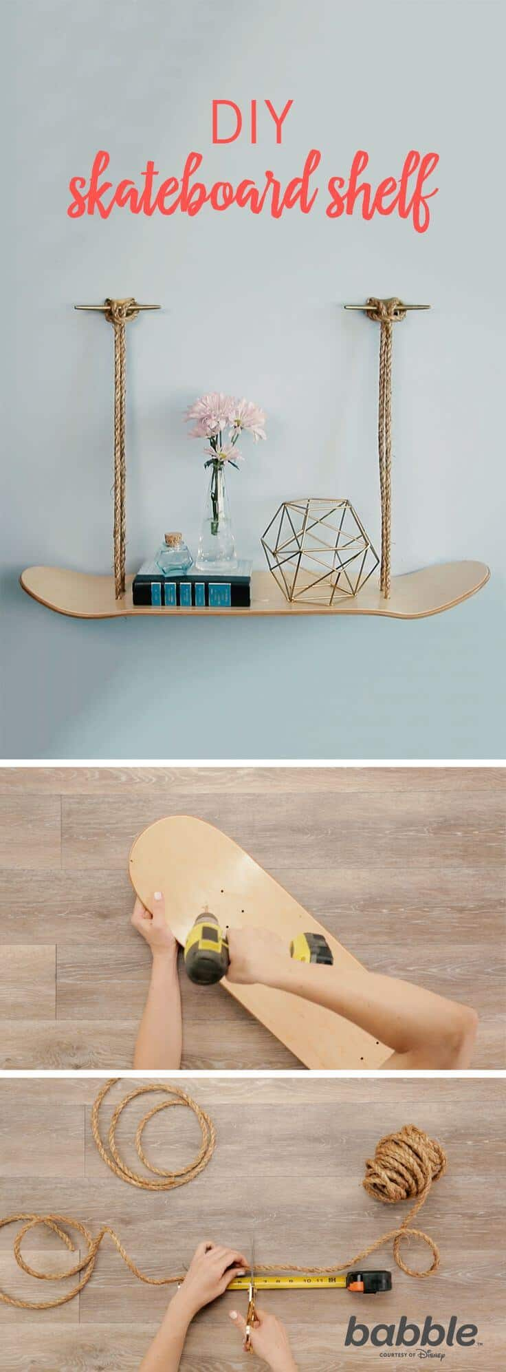 Hanging skateboard and rope shelf