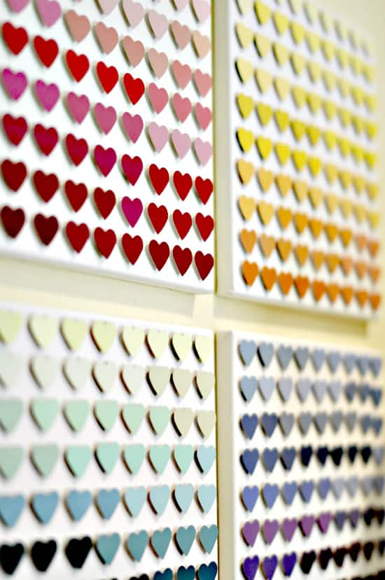 Heart paint chip canvas art