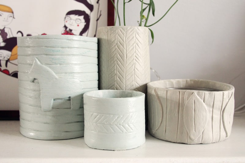 Imprinted pottery with air dry clay