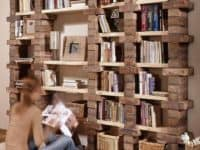 Industrial books and boards shelf 200x150 Finding Space with Creativity: 14 Smart Homemade Bookshelves