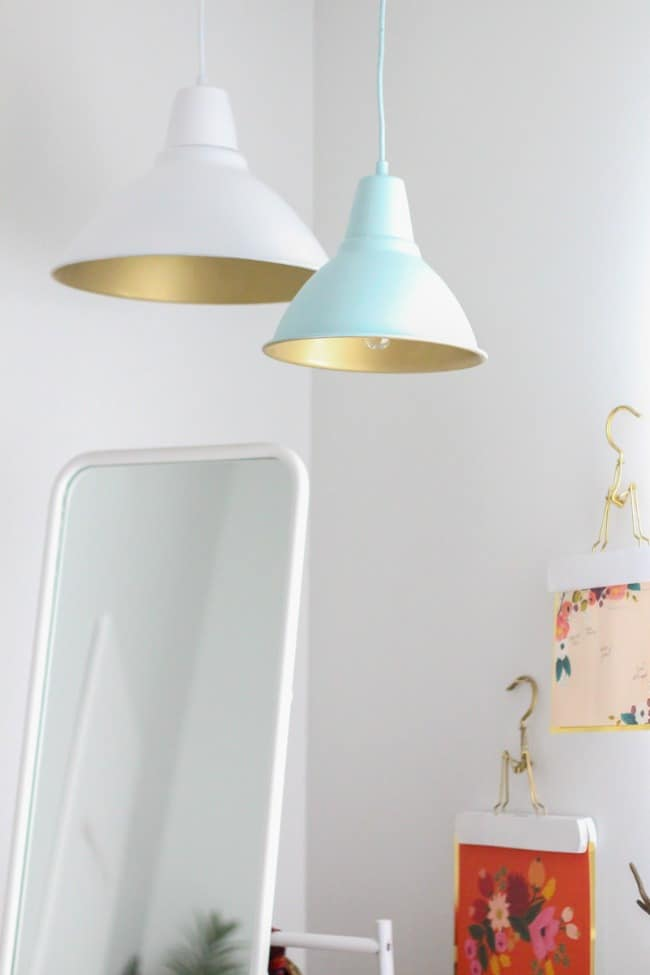 Metallic gold interior pendant lights