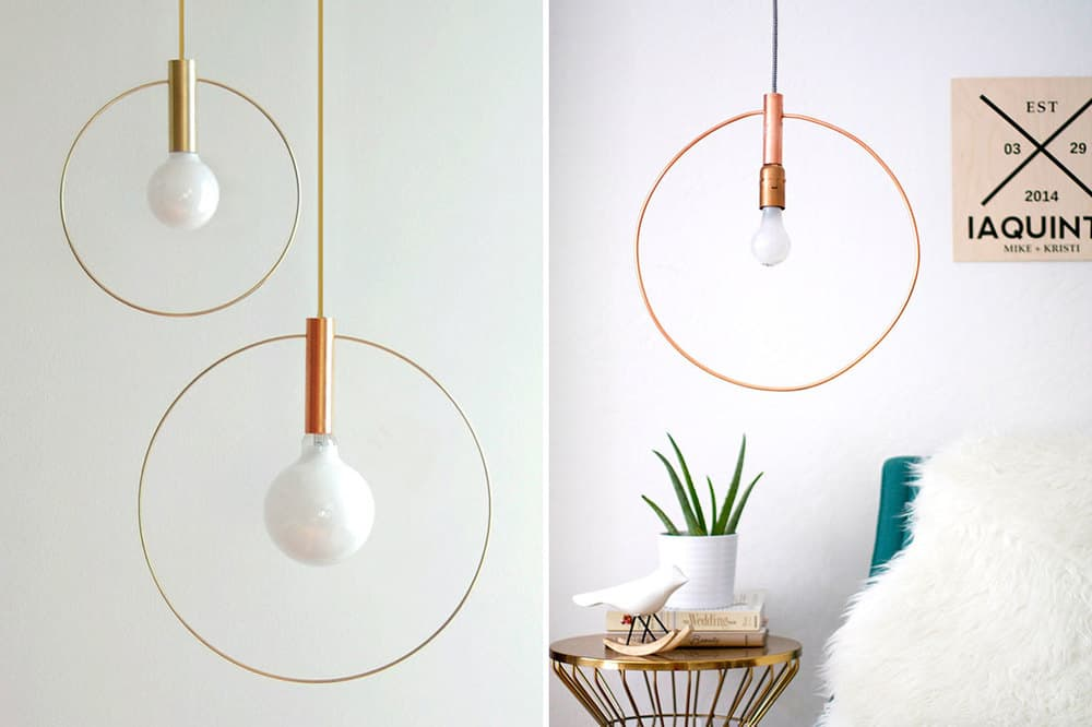 Modern wire circle pendant light