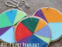Paint swatc and resin pie chart pendant 200x150 Exciting and Colorful: Great Crafts Made With Paint Swatches!