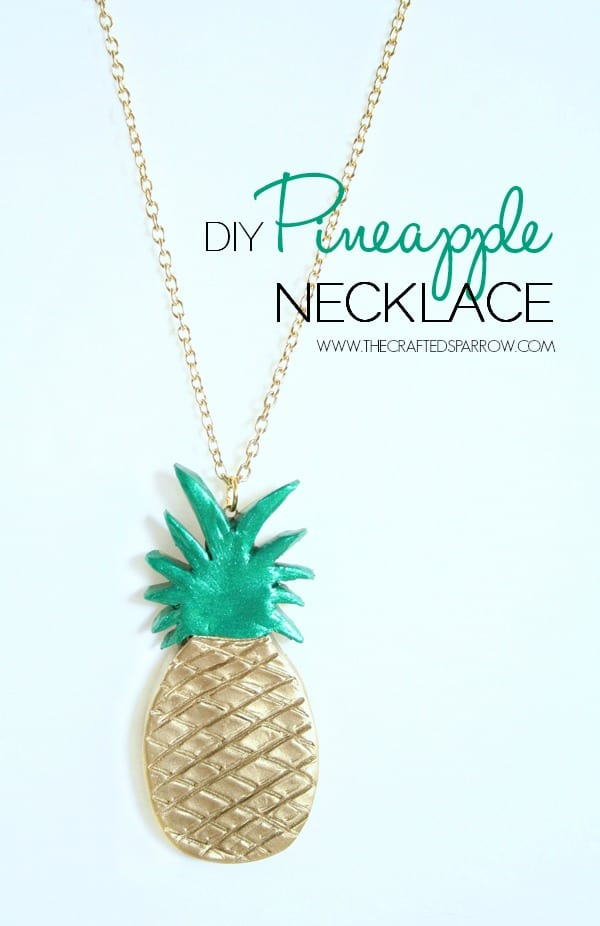 Painted clay pineapple necklace