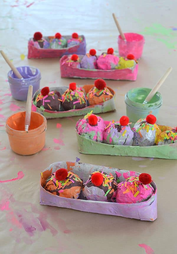 Painted ice cream sundaes