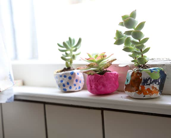 Painted mini clay pots for kids