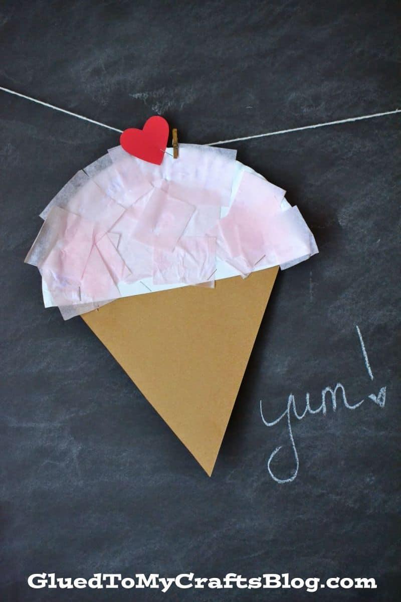 Paper plate and tissue paper ice cream cone