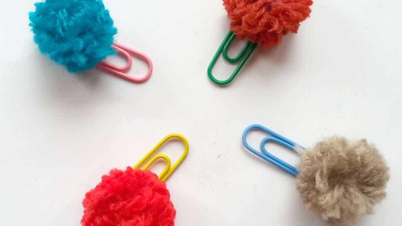 Pretty pom pom paper clips