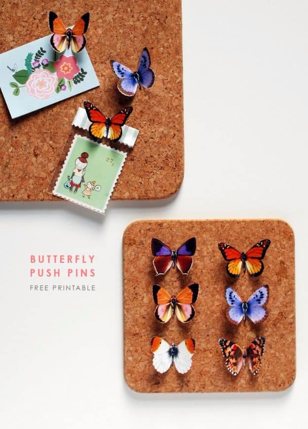 Printable butterfly push pin boards