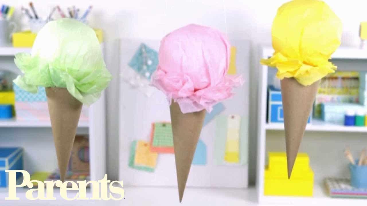 Stuffed tissue ice cream cone party decor