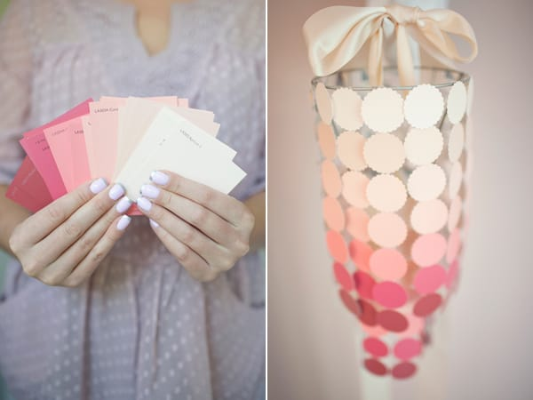 Stunning paint swatch and ribbon chandelier cover