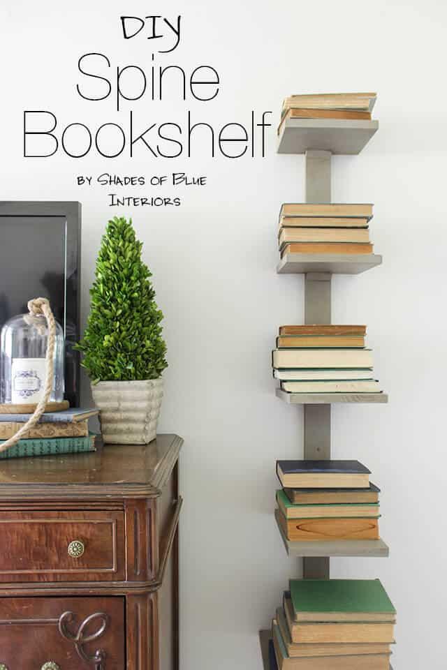 Vertical book stacking spine shelf
