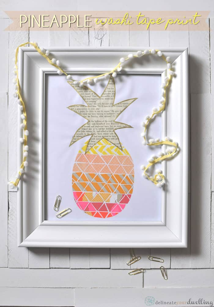 Washi tape and newsprint pineapple print