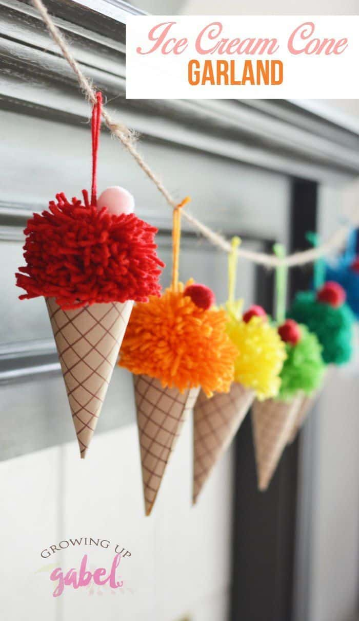 Yarn pom pom ice cream cone garland